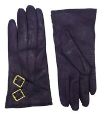 Coach NEW Cashmere Lined Gloves Womens Purple Crossing Buckles Leather 82055