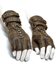 Punk Rave Mens Steampunk Fingerless Gloves Brown Copper Gothic Dieselpunk LARP