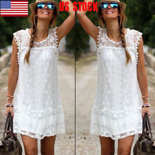 US Women Lace Floral Boho Short Mini Dress Sleeveless Vest Club Casual Sundress