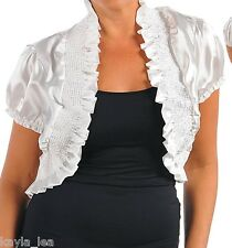White Cap Sleeve Smocked Cropped Bolero/Shrug Cover-Up Plus