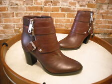 Marc Fisher Burgundy Red Leather Engine Buckled Ankle Boots NEW