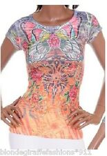 Orange/Gray Butterfly Exotic Sublimation/Tattoo Cap Sleeve Top S