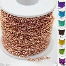 2/5/10/100yds Plated Cable Open Link Iron Metal Chain Findings 3x2mm 14 Color