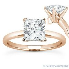 Square Cut Forever Brilliant Moissanite 14k Rose Gold Solitaire Engagement Ring
