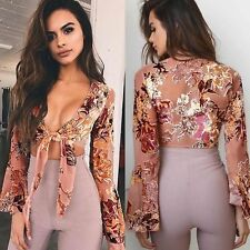 Sexy Womens Clothes Floral Lotus Sleeve V-Neck Blouses Tops Ladies Short Shirt a