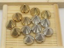 100 Metallic Acrylic Rock Punk Dotted Spike Taper Stud Beads 10X10mm Gold Silver