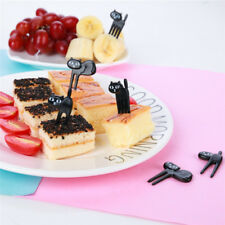 Black Cat Fruit Fork Kitten Bento Decoration Sign Cute Cartoon Baby Fork 6 Pack