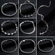 Women Heart Jewelry Bangle Snake Chain Bracelet Solid Silver Crystal Cuff Charm
