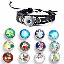 5pcs Punk Christmas Snap Button Wristband Leather Glass Bracelet Bangle Jewelry