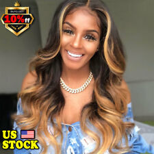 Women's 28'' Long Curly Body Wavy Brown Hairstyle Ladies Black Gold Hair Wigs US