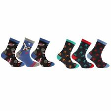 Childrens/Boys Cotton Rich Space/Star Design Socks (Pack Of 3) (K326)