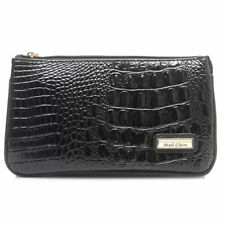 Madi Claire Croco Embossed Leather Zip Top Triple Compartment Wristlet in Black