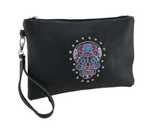 Zeckos Faux Leather Embroidered Day of the Dead Sugar Skull Wristlet Purse