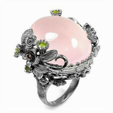 925 Silver Flower Pink Moonstone Ring Opal Wedding Bridal Proposal Party Jewelry