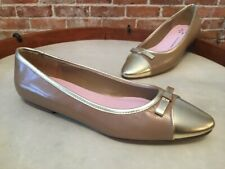 Isaac Mizrahi Coco Taupe Leather Gold Captoe Bow Ballet Flats