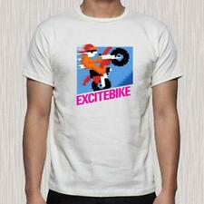 NEW EXCITE BIKE VIDEO GAME CLASSIC NES RETRO MEN'S WHITE T-SHIRT SIZE S TO 3XL
