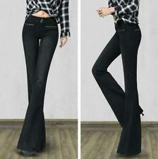 New Women Casual Bootcut Pants Vintage Wide Leg Long Flared Bell-bottom Trousers