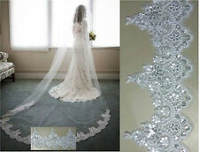 One Tiers White Ivory Lace Edge Wedding Veil Cathedral Length Bridal Veils