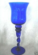 Unusual Tall Solid Cobalt Blue Blown Optic Glass Footed Votive / Tealight - NEW