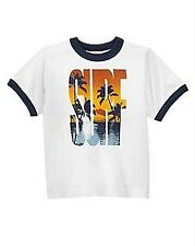 NWT Gymboree Boys sz 5 or 6 BAJA SURF Palm Tee White Short Sleeve Summer Shirt
