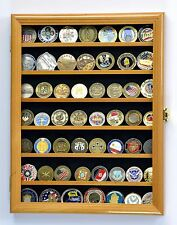 Military Challenge Coin Display Case Cabinet Wall Rack 98% UV Lockable