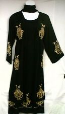 NWT Women Clothing Long Dress Jacket Black Stylish Golden Hand Print & Bead M 1X