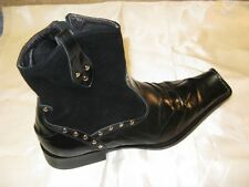 Fiesso New Men's Black Leather and Suede Boots with Zipper and Studs FI 6410
