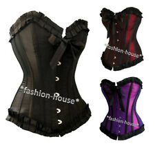 New Sexy Satin Vintage Boned Lace Up Corset Bustiers Top+G-String-2699