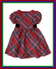 NWT Gymboree Sz 18-24 2T HOLIDAY CELEBRATIONS Plaid Red Blue Green Silk Dress