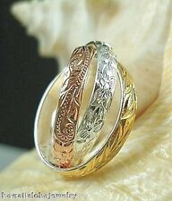 HAWAIIAN 3-TONE STER SILVER 14K GOLD TRIPLE DESIGNED INTERLINKED RING #1  3.5-10