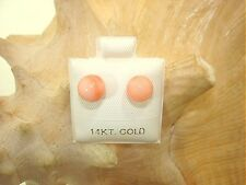 6-12MM WESTERN PACIFIC CALIBRATED ROUND PINK CORAL 14K YELLOW GOLD STUD EARRINGS