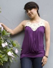 New JAPANESE WEEKEND Maternity Nursing Bohemian Crochet Purple Tank Top XL 16/18