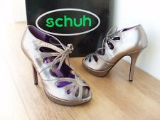 SCHUH FLOWER SILVER PEWTER LEATHER LACE UP EVENING PARTY STILETTO SHOE BOOT
