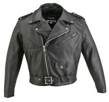Mens Made In USA Classic Police Style Horsehide Leather Motorcycle Biker Jacket