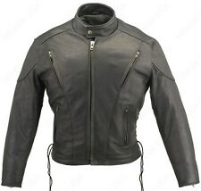 MADE IN USA BLACK NAKED LEATHER VENTED BIKER JACKET BIG AND TALL SIDE LACES