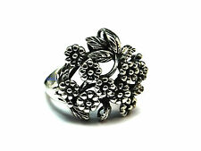 New Ladies Sterling Silver Bouquet Flower Band Ring 20mm UK Sizes 925 Hallmarked