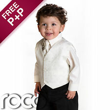 BABY BOYS WEDDING PAGEBOY 4 PIECE IVORY BLACK SUIT AGE 0 MONTHS - 8 YEARS