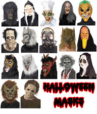 HALLOWEEN FANCY DRESS COSTUME LATEX FACE MASKS - ASSORTED FULL FACE & OVERHEAD
