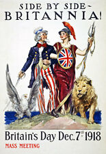 WA75 WWI Uncle Sam & Britannia Britain's Day British War Poster WW1 A1 A2 A3