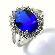 Princess Inspired Sapphire Blue Color Wedding Engagement Ring