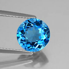 Masterpiece Collection: Round Natural Bright Blue Swiss Blue Topaz (3 - 9mm)