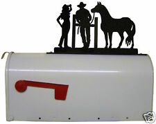 COWGIRL COWBOY HORSE MAILBOX TOPPER GATE RUSTIC WESTERN METAL ART OUTDOOR SIGN