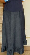 Ladies long ruffle skirt denim jean modest maternity blue pick size & fabric