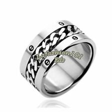 316L Stainless Steel w/Chain Center Bolted Design Men's Wide Band Wedding Ring