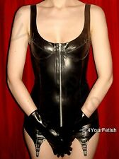 Latex Rubber Zip Front Corselette Black Honour Fetish Corset Garters S-4XL