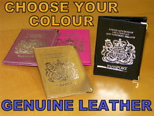 LEATHER METALLIC BRITISH UK PASSPORT HOLDER COVER WALLET EUROPEAN PROTECTOR