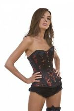 Chinese Red Black Petal Blossom Laced Busk Steel Boned Overbust Corset