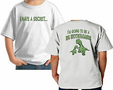 I HAVE A SECRET I'M GOING TO BE A BIG BROTHER DINOSAUR CUSTOM T-SHIRT white grey
