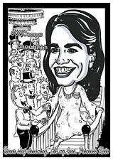 Girls A4 Black & White Themed Caricature + FREE message