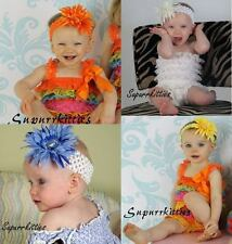 Baby Crochet Daisy Flower Headband Bow Toddler/Girl Orange Yellow Blue Red White